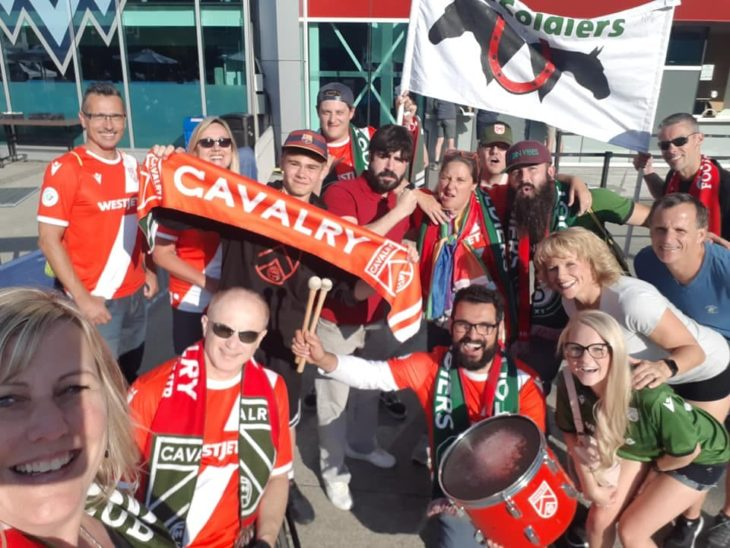 Cavalry FC fans on a recent road trip. (Photo courtesy Nicki Brown)