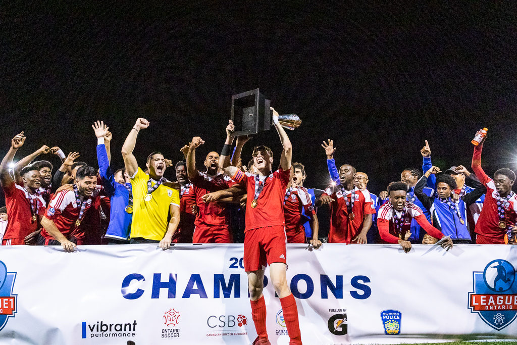 VAUGHAN, ON - SEP 27, 2019: League1 Ontario Men's Championship Final between FC London and Masters FA. (courtesy of League1 Ontario/ Kevin Raposo Photography)