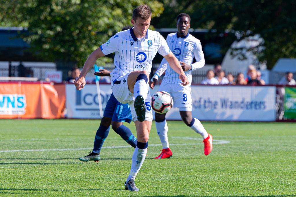 FC Edmonton defender Amer Didic plays the ball. (Trevor MacMillan/CPL)