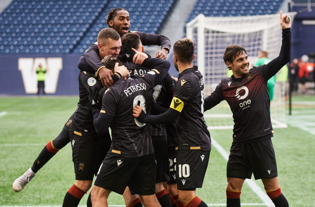 Valour FC celebrates a win over FC Edmonton at IG Field. (Photo: Valour FC).