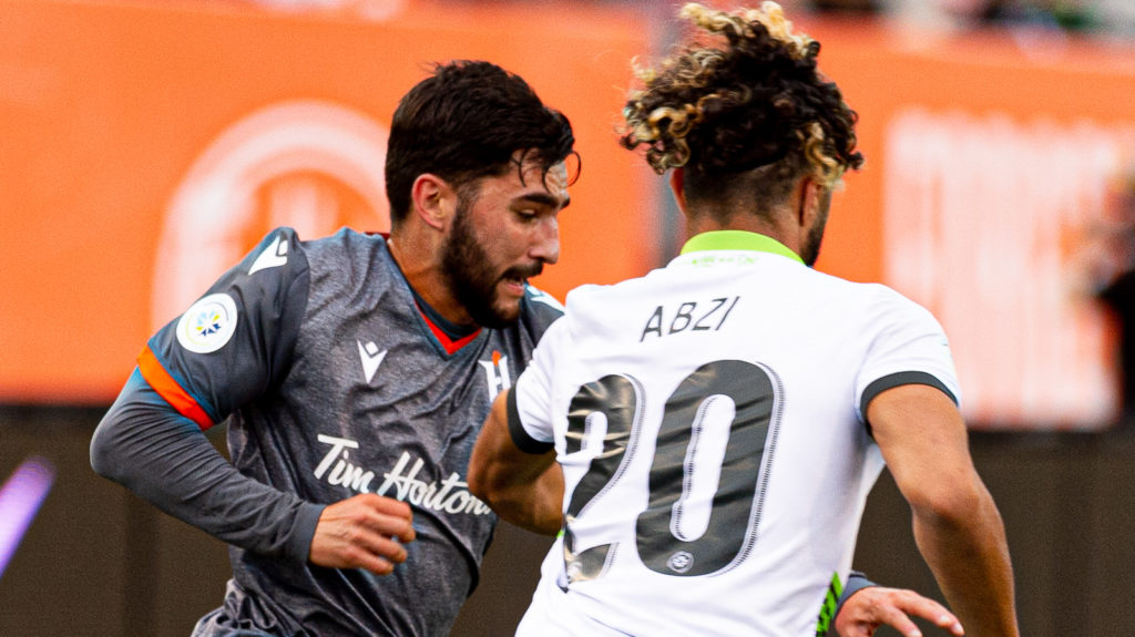 Forge FC's Tristan Borges battles with York9 FC's Diyaeddine Abzi. Photo: Ryan McCullough/CPL