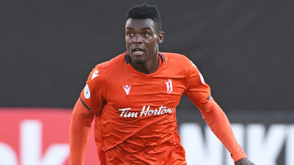 Forge FC defender Bertrand Owundi. Mandatory Credit: Gerry Angus-USA TODAY Sports for CPL