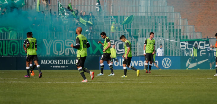York9 FC celebrate scoring at York Lions Stadium. (CPL)
