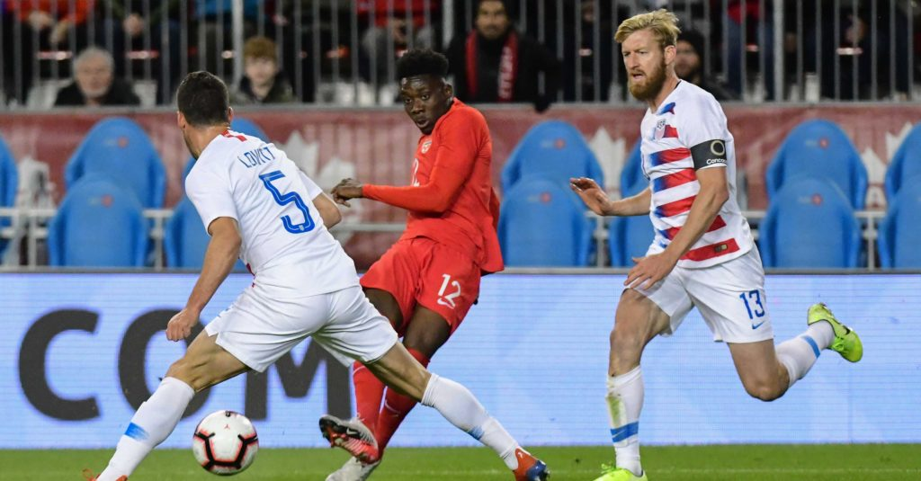 Canada's Alphonso Davies in action against the U.S. on Tuesday night. (Canada Soccer photo)