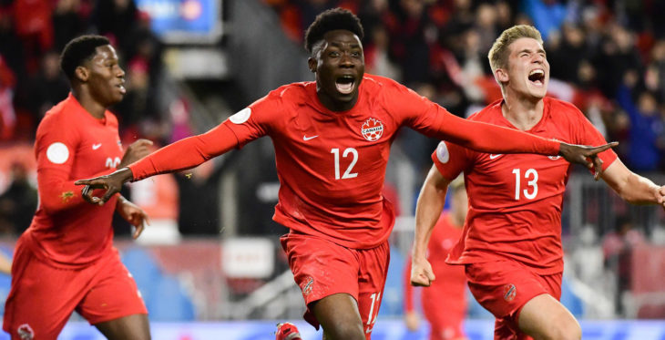 Canada's Alphonso Davies celebrates his goal against the United States. (Photo: Martin Bazyl for Canada Soccer).