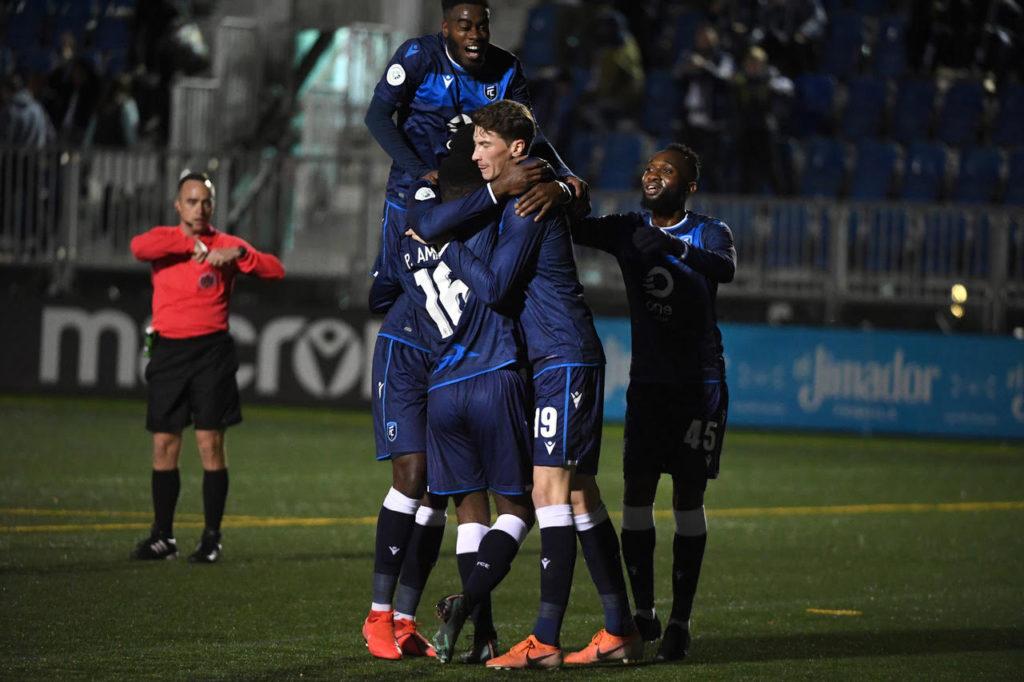 FC Edmonton celebrates Prince Amanda's goal vs. Pacific FC. (Photo: Reuters).