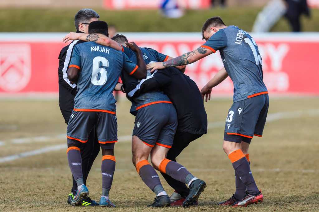 Nov 2, 2019; Calgary, Alberta, CAN; Forge FC attacker Anthony Novak (23) gets help off the pitch in the second half against the Cavalry FC during a Canadian Premier League soccer final match at Spruce Meadows. Mandatory Credit: Sergei Belski-USA TODAY Sports for CPL