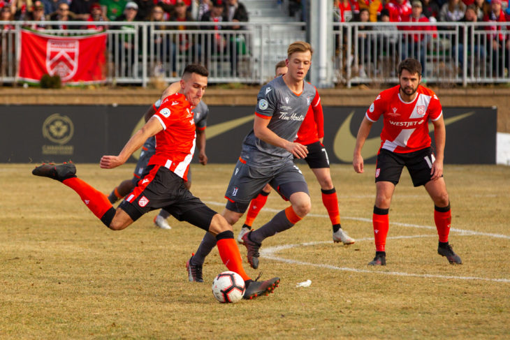 2019 Canadian Premier League Finals Cavalry FC v Forge FC at ATCO Field at Spruce Meadows, Calgary, Alberta, Canada - Nov 2, 2019. Tony Lewis/CPL