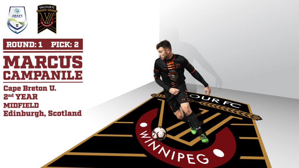 Valour FC's 1st round pick, Marcus Campanile of Cape Breton.