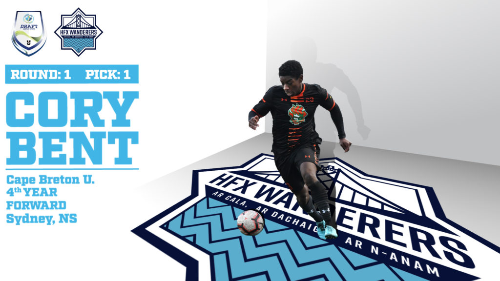 HFX Wanderers FC's 1st round selection, Cory Bent from Cape Breton.