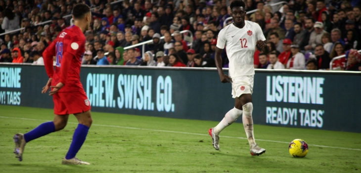 Alphonso Davies, right, in action for Canada against the U.S. (Canada Soccer photo)
