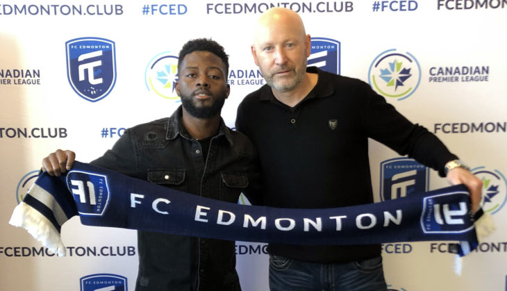 Hanson Boakai and Jeff Paulus of FC Edmonton.