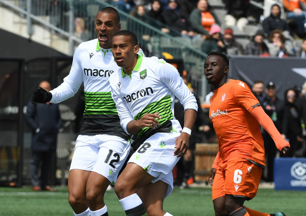 The moment York9 FC's Ryan Telfer scored against Forge FC in the CPL Inaugural Game. (Dan Hamilton-USA TODAY Sports for CPL).