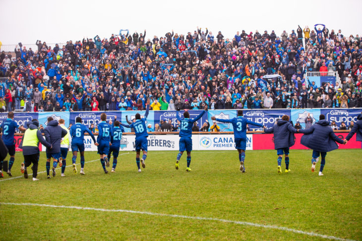 Canadian Premier League - HFX Wanderers FC vs Forge FC - Wanderers Grounds, Halifax, Nova Scotia - May 4, 2019. HFX Wanderers FC Celebrate their victory. (Trevor MacMillan/CPL)