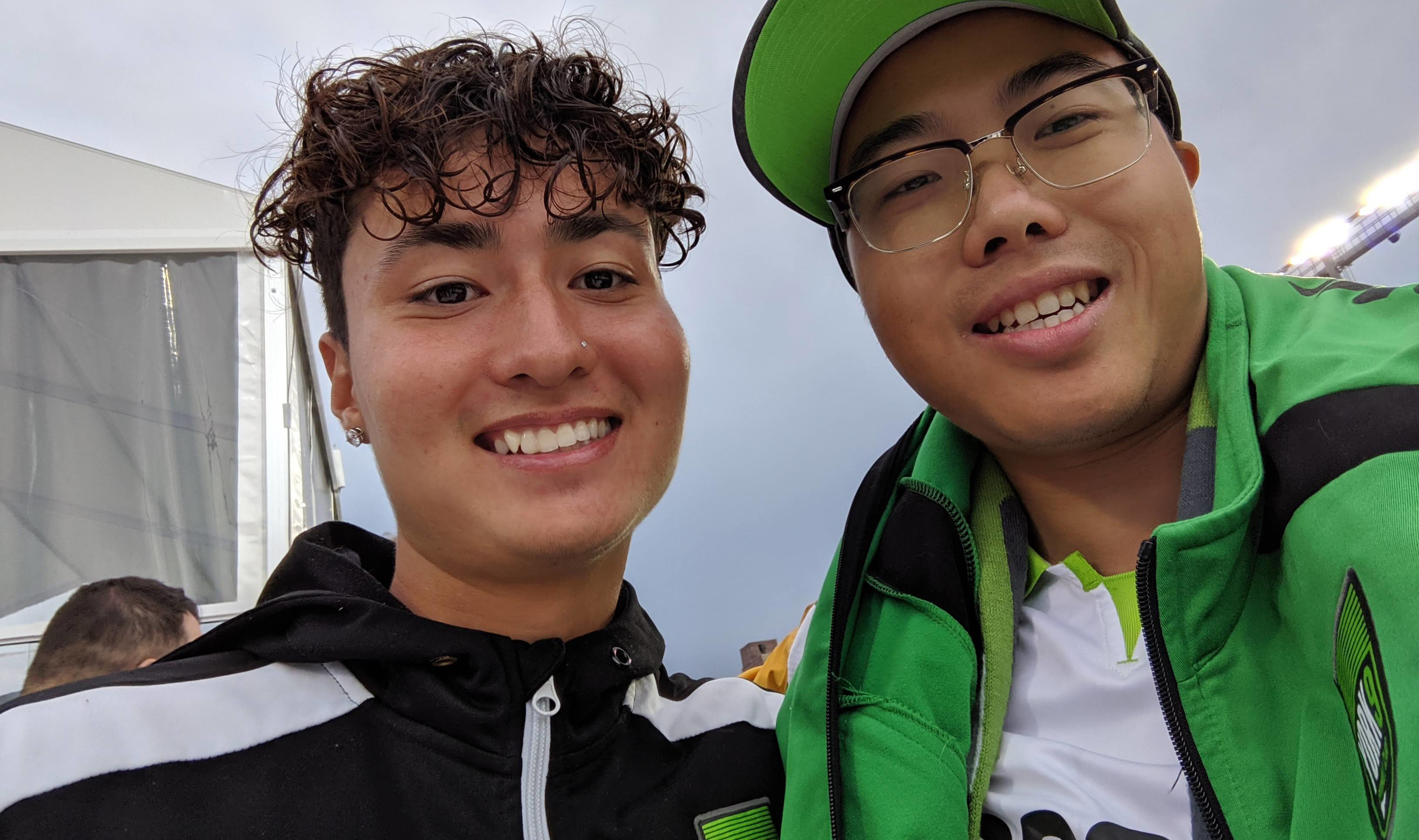 Edward Hon-Sing Wong, right, alongside York9 FC midfielder Emilio Estevez.
