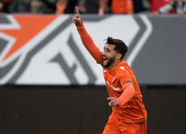 Oct 26, 2019; Hamilton, Ontario, CAN; Forge FC midfielder Tristan Borges (19) celebrates after scoring against Cavalry FC in the first half of a Canadian Premier League soccer final match at Tim Hortons Field. Mandatory Credit: Dan Hamilton-USA TODAY Sports for CPL