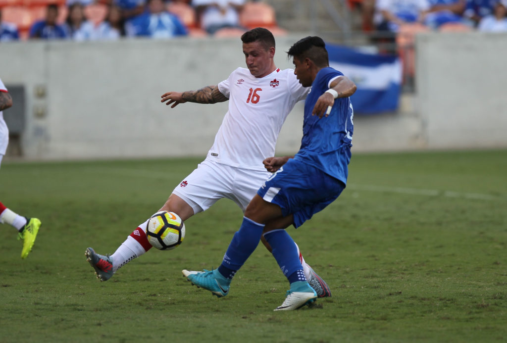 Fraser Aird in action for the Canadian men's national team. (Photo: Canada Soccer)