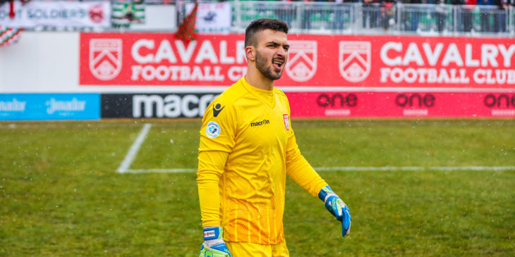 May 4, 2019; Foothills County, Alberta, Canada; Cavalry FC goalkeeper Marco Carducci (1) reacts after the game against the York9 FC during the second half during a Canadian Premier League soccer match at Spruce Meadows. Cavalry FC won 2-1. Mandatory Credit: Sergei Belski-USA TODAY Sports for CPL