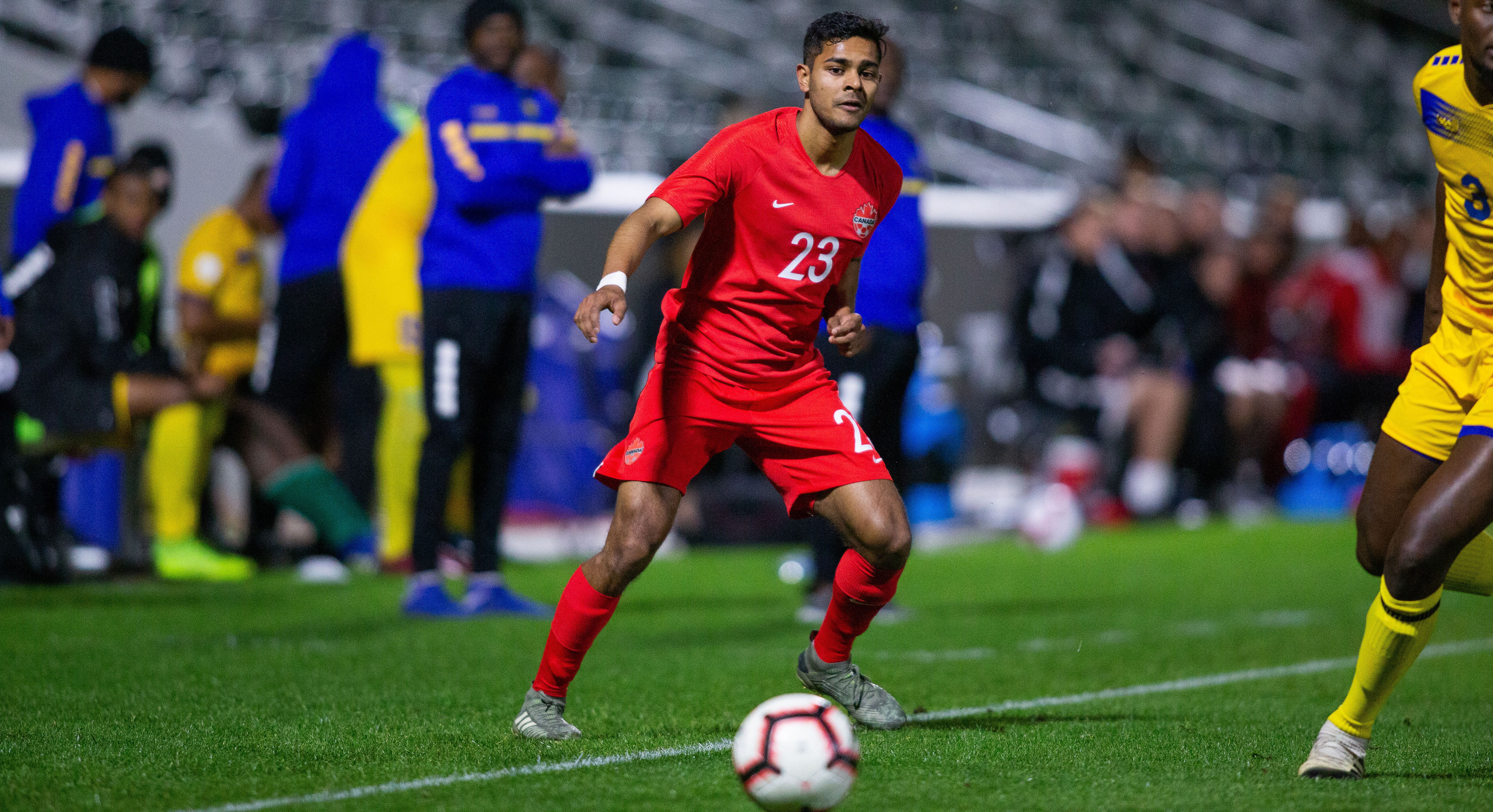 Shamit Shome in action for the Canadian mens team. (Canada Soccer photo)