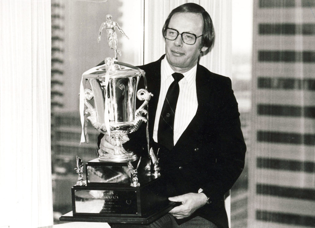 Sean Fleming's dad, Jim, with the Concacaf championship trophy in 1985. (Photo: Canada Soccer)