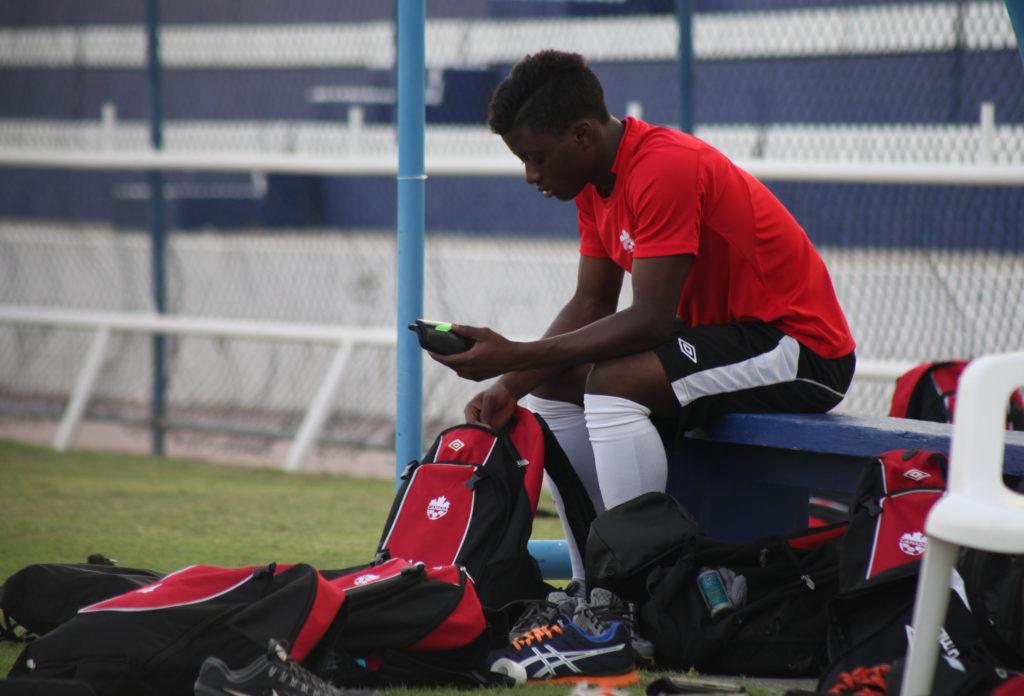Hanson Boakai in training at the 2013 FIFA U-17 World Cup in Dubai. (Photo: Canada Soccer)