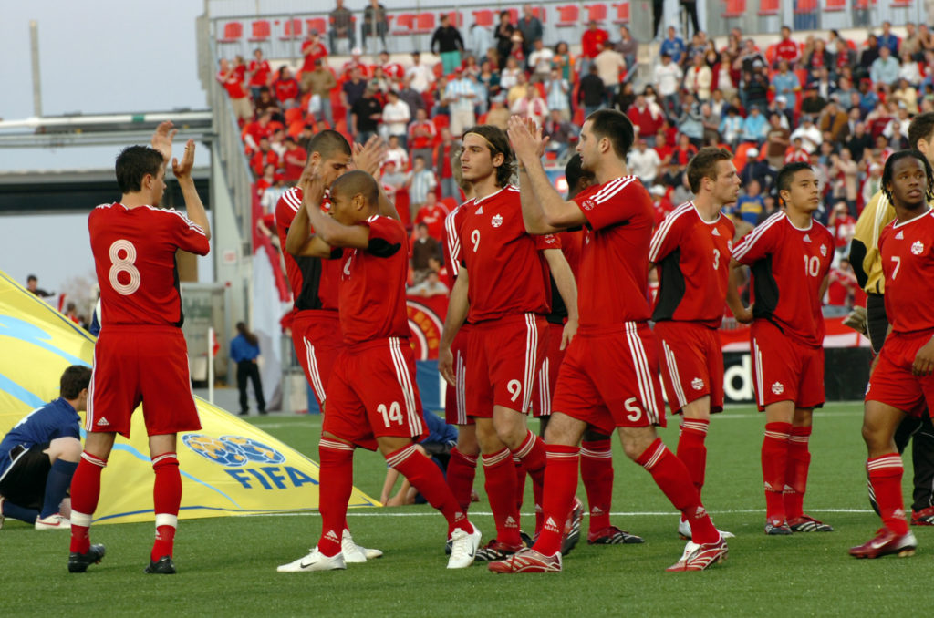 Canada salutes the BMO Field crowd before playing Chile at the 2007 FIFA U-20 World Cup. (Photo: Canada Soccer)