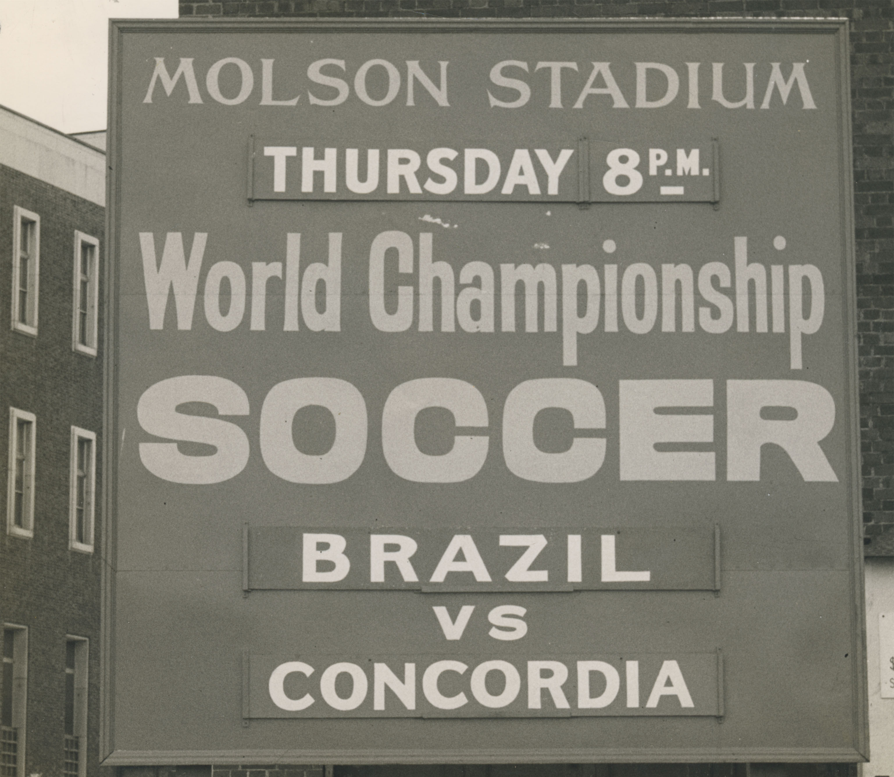An advertisement for Concordia FC taking on Brazilian side Bangu in Montreal, 1961. (Canada Soccer)