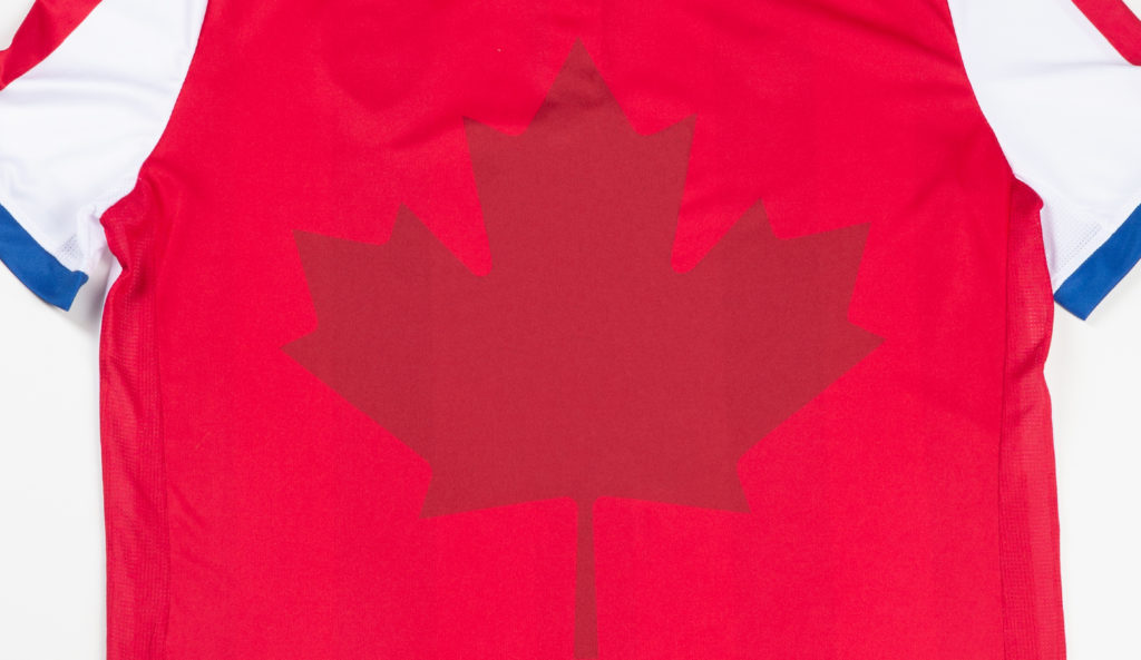 The Maple Leaf on the bak of Atlético Ottawa's 2020 home kit. (CPL)