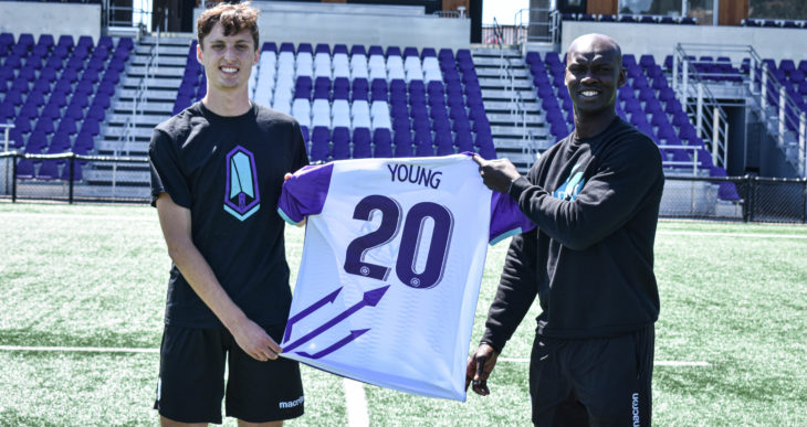 Sean Young and Pacific FC coach Pa-Modou Kah. (Pacific FC)