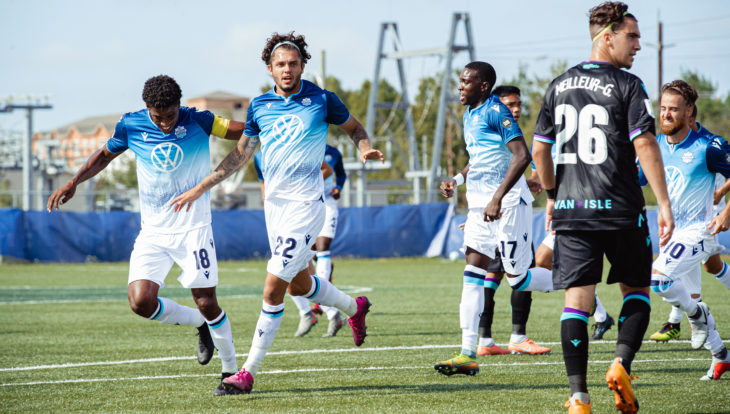 HFX Wanderers FC's João Morelli, middle, celebrates his goal against Pacific FC. (Nora Stankovic/OneSoccer)