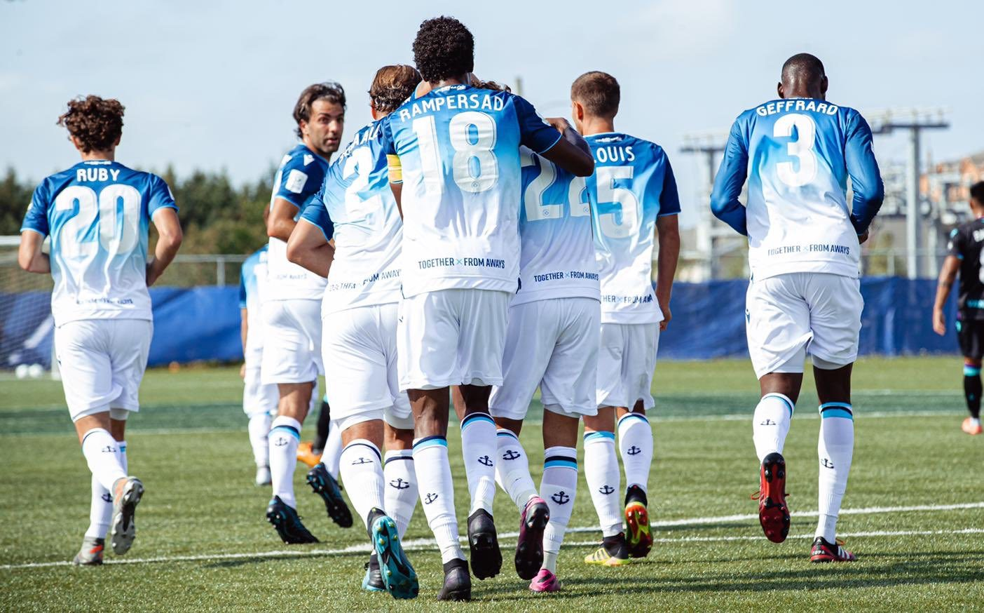 HFX Wanderers celebrate a Joao Morelli penalty in their Island Games opener. (Nora Stankovic/OneSoccer)