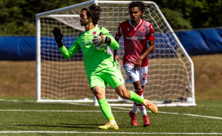 Cavalry FC goalkeeper Marco Carducci and defender Mohamed Farsi. (CPL/Chant Photography)