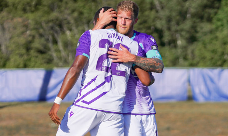 Pacific FC's Marcel De Jong and Jamar Dixon. (CPL/Chant Photography)