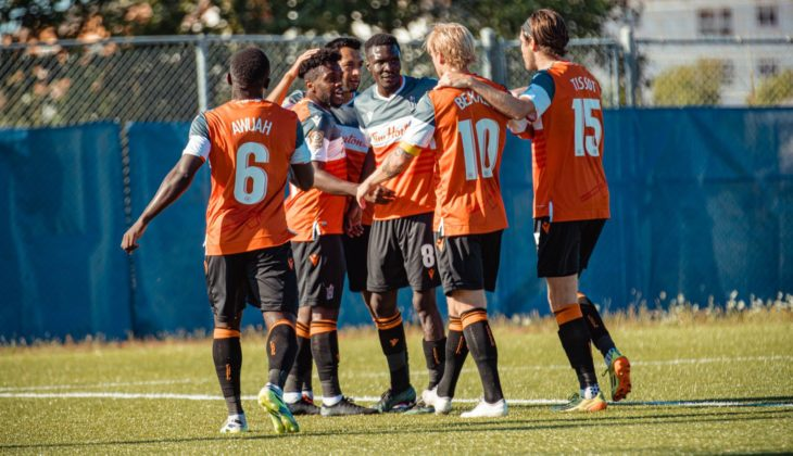 Forge FC celebrate Chris Nanco's goal against Pacific FC. (Nora Stankovic/OneSoccer)