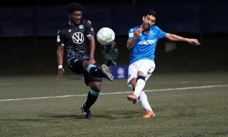 Ramón Soria, right, in action for FC Edmonton. (CPL/Chant Photography)