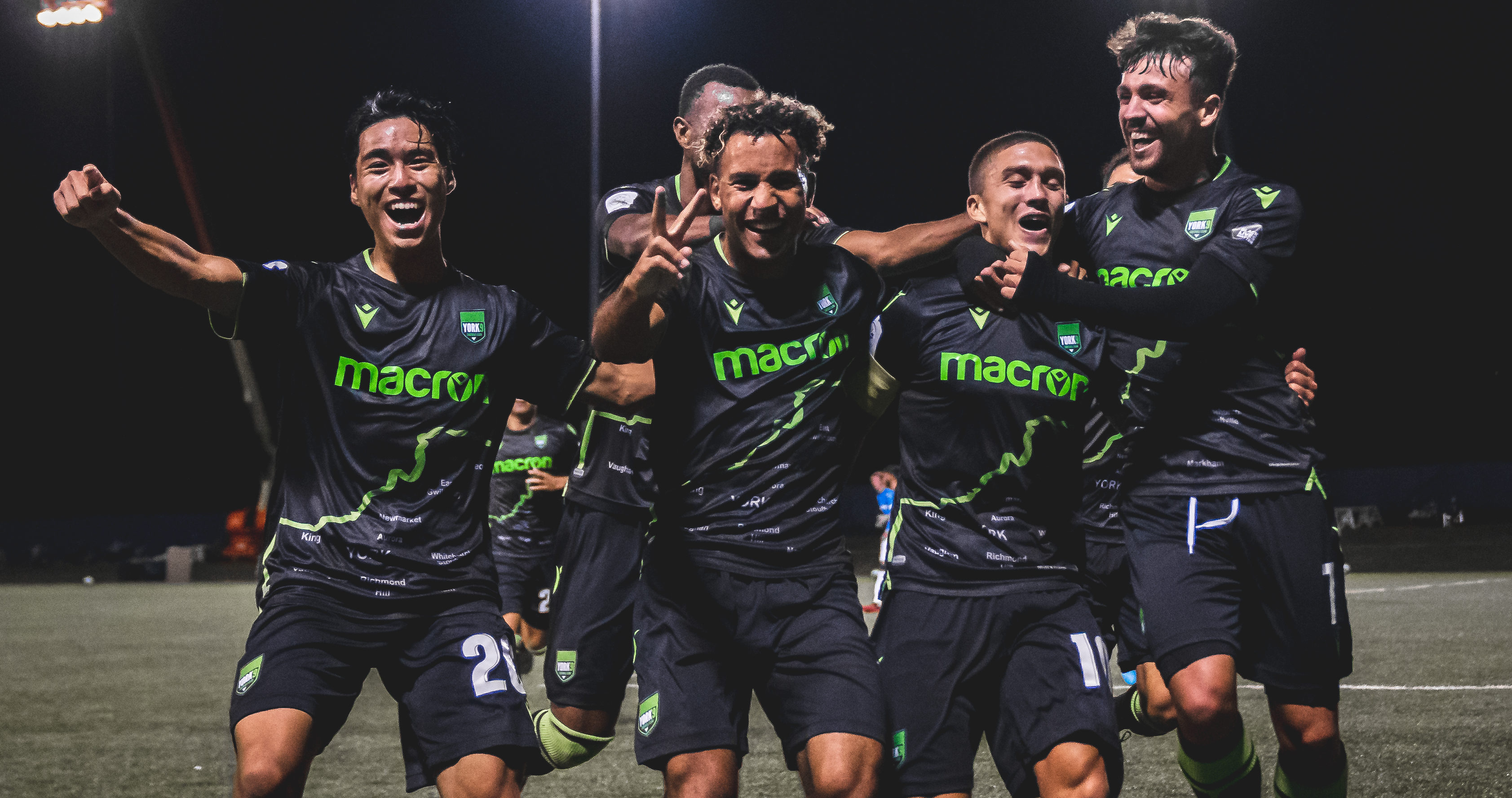 York9 captain Manny Aparicio (second from right) celebrates with teammates after scoring his second free kick in as many games. (CPL/Chant Photography)