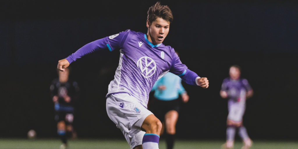 Kadin Chung in action for Pacific FC.
