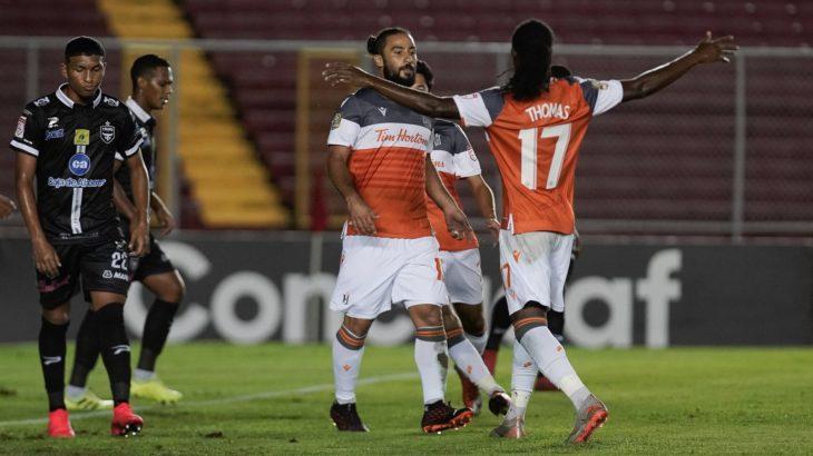 Mo Babouli celebrates his goal with Forge teammate Kadell Thomas. (Photo: Concacaf/Straffon Images/Alexis Quiroz)