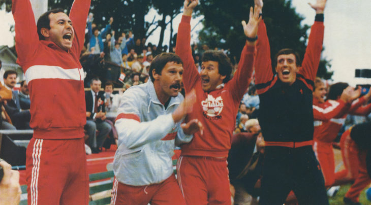 Ton Waiters, second from left, celebrates Canada qualifying for the 1986 World Cup following his team's win over Honduras. (Photo: Canada Soccer Collection / Dan Hamilton)