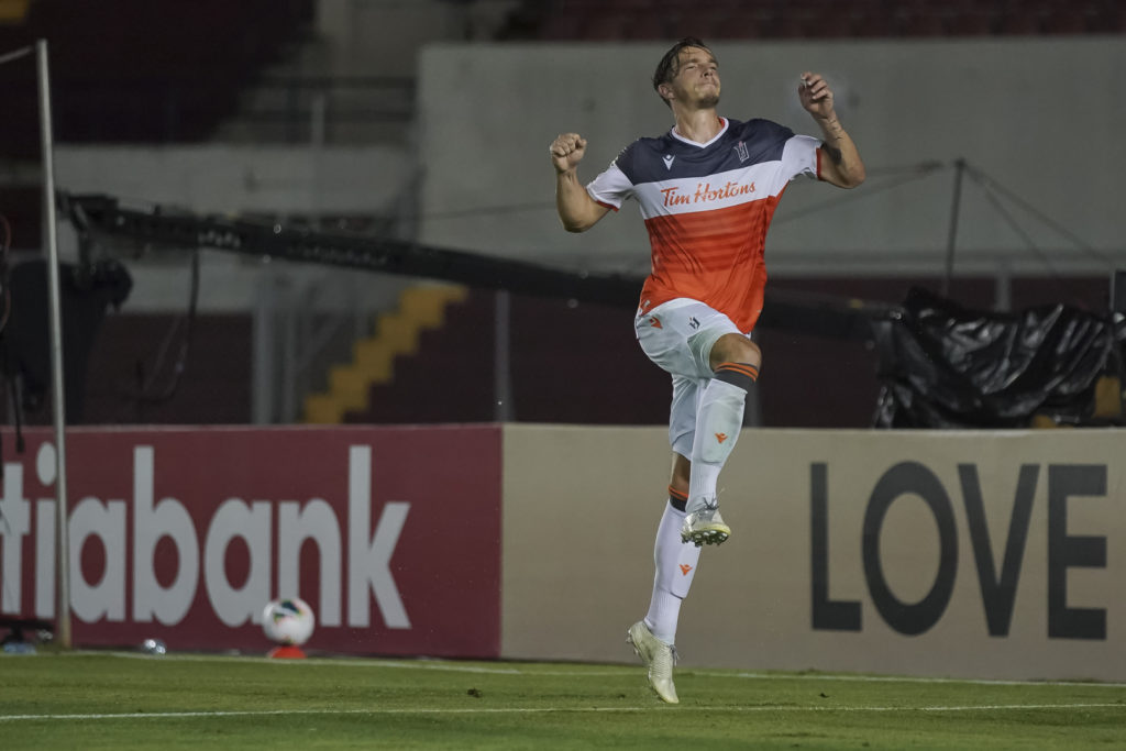 Daniel Krutzen of Forge FC celebrates after scoring during the CONCACAF LEAGUE at the Rommel Fernandez Stadium in Panama (Photo CONCACAF/STRAFFON IMAGES/ Alexis Quiroz/Mandatory Credit/Editorial Use/Not for Sale/Not Archive)