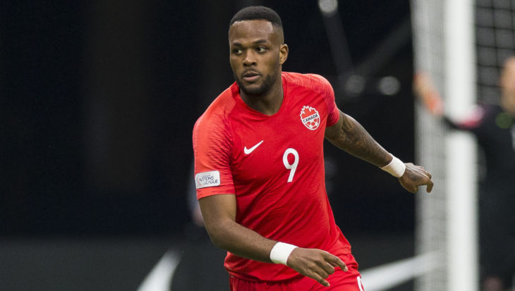Cyle Larin during a Concacaf Nations League Qualifying match at BC Place. (Canada Soccer/Bob Frid)