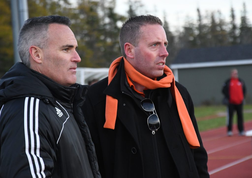 Cape Breton coaches Scott Clarke (L) and Deano Morley (R). (Photo: Vaughan Merchant)