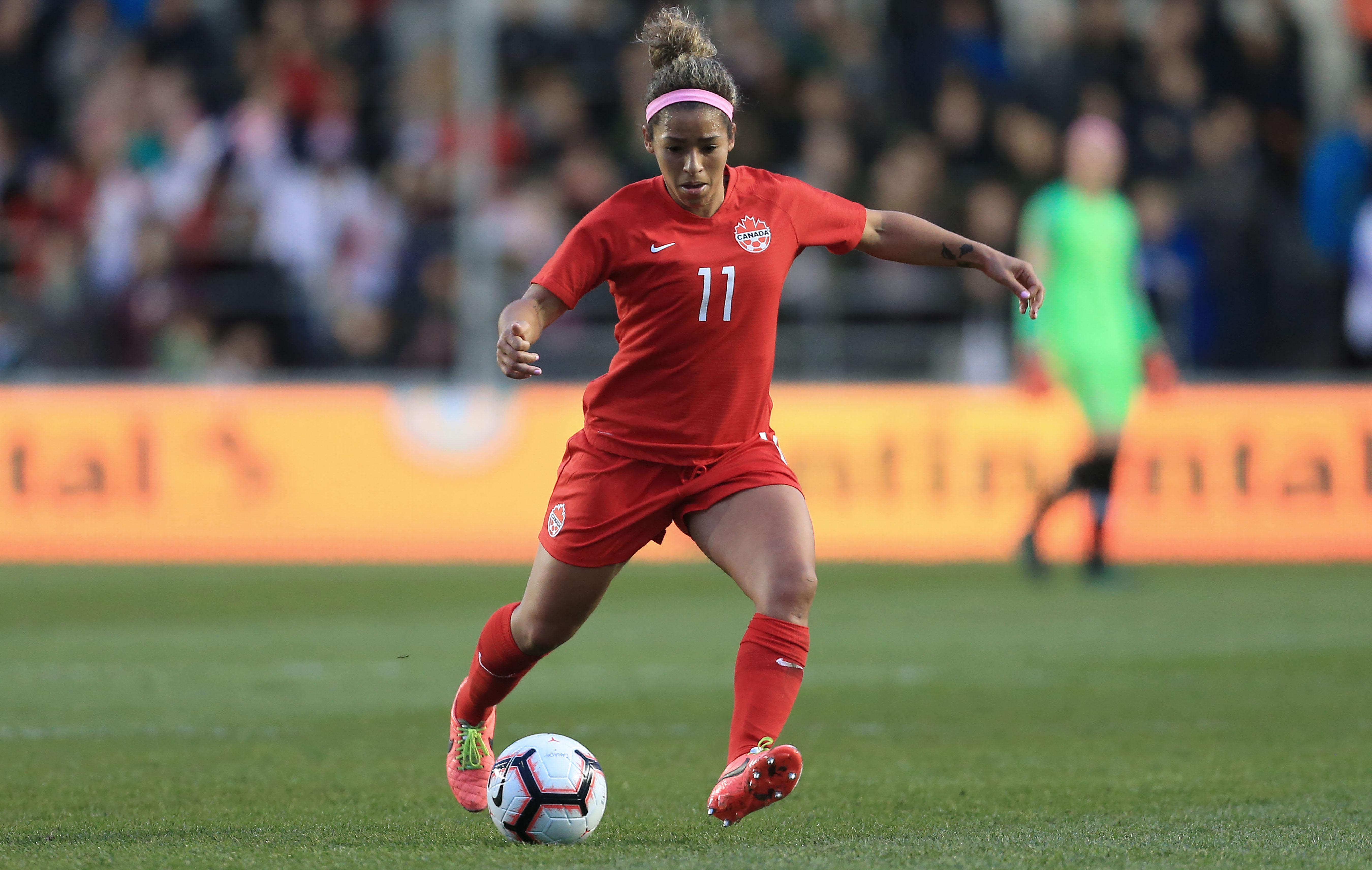Desiree Scott in action for Canada. (Canada Soccer file photo by Simon Stacpoole)