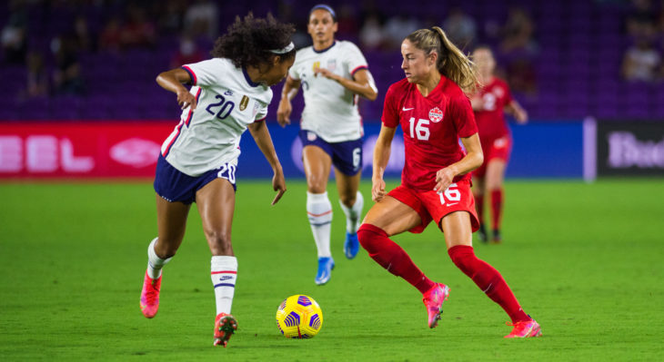 Canada's Janine Beckie in action against the U.S. (Canada Soccer photo by Jeremy Reper)