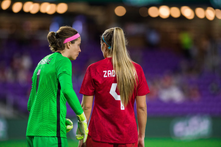 SheBelieves Cup 18 February 2021 - Orlando, FL, USA Canada Soccer by Jeremy Reper Stephanie Labbé and Shelina Zadorsky