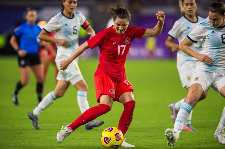 Canada's Jessie Fleming in action against Argentina at the SheBelieves Cup. (Canada Soccer photo)