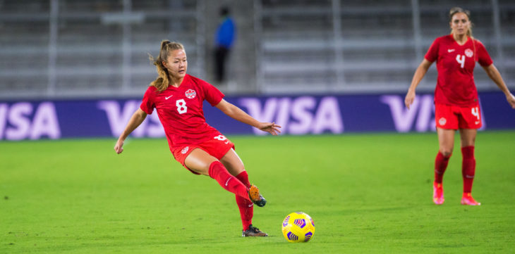 Canada's Samantha Chang in action against Argentina at the SheBelieves Cup. (Canada Soccer photo)
