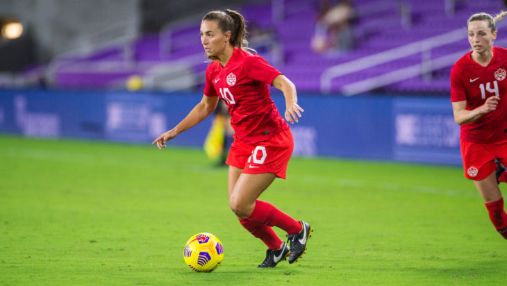 Canada's Sarah Stratigakis in action against Argentina at the SheBelieves Cup. (Canada Soccer photo by Jeremy Reper)