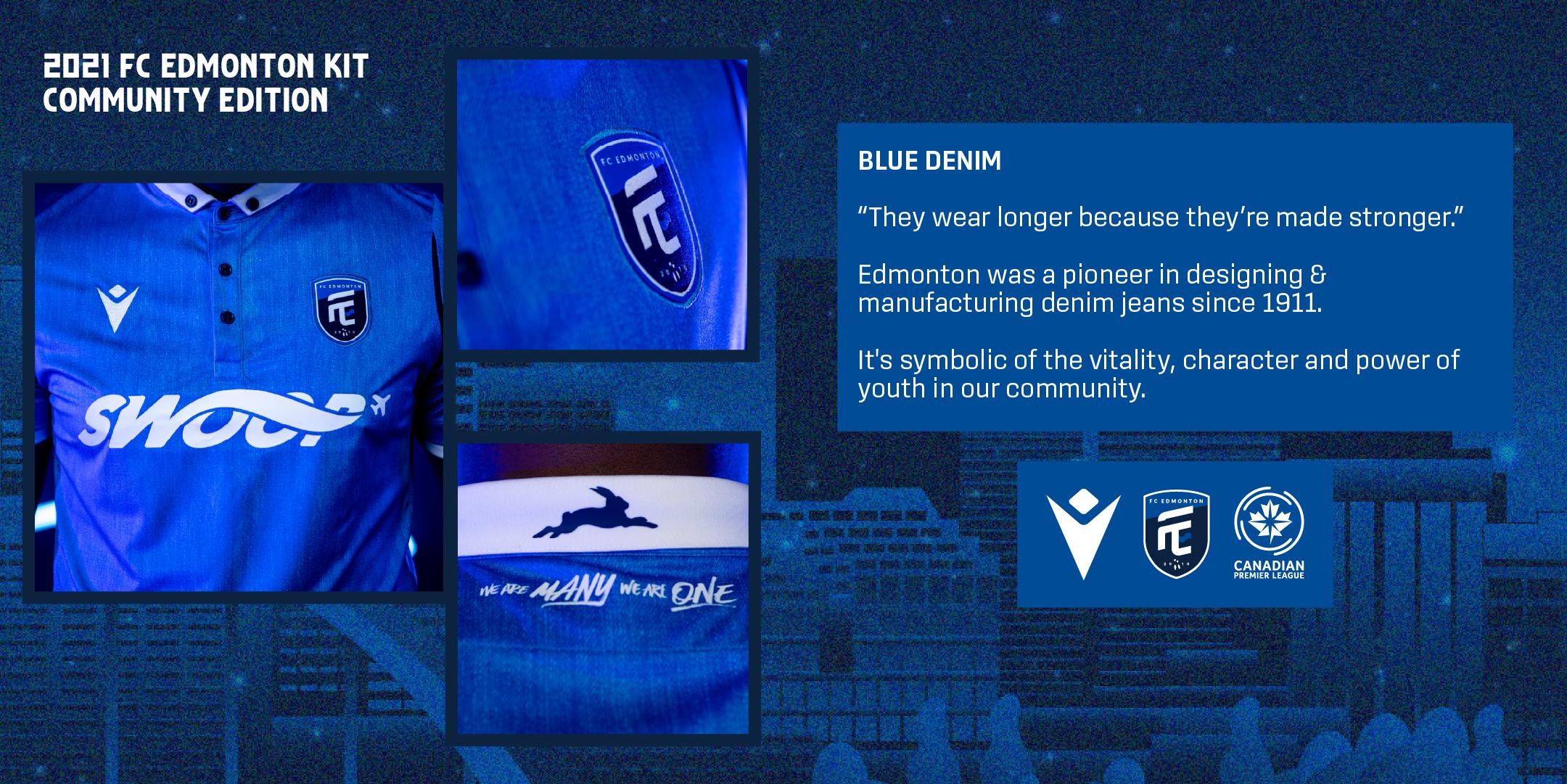 "FC Edmonton's 2021 ""Community"" kit, produced by Macron."