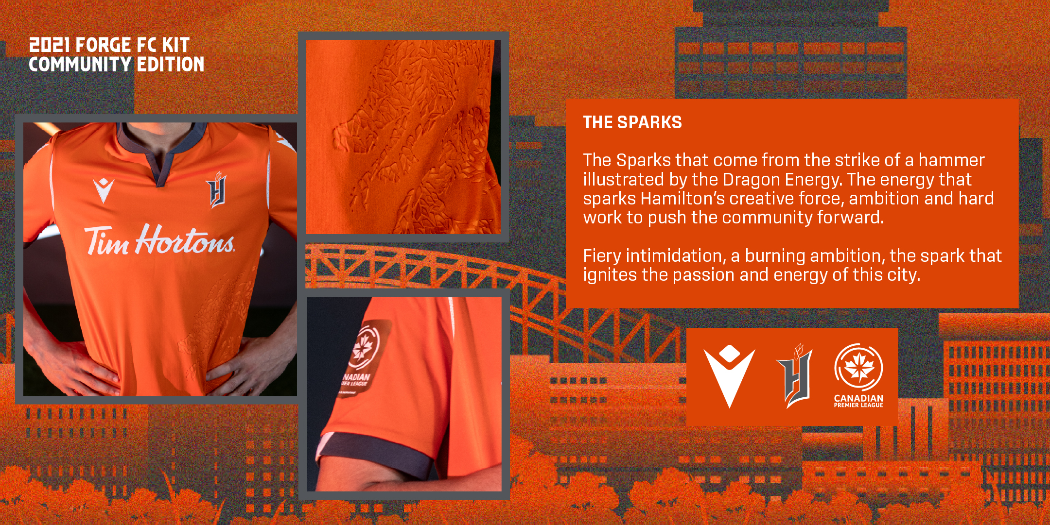 """Forge FC's 2021 """"Community"""" kit, produced by Macron."""